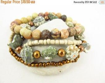 ON SALE Shell Stack Bracelets Set Handmade Custom Size Stretch Stacking Bracelets Beaded Bracelets Custom Jewelry Resort Jewelry Beach Jewel