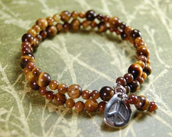 Memory Wire Bracelet Tiger's Eye with Peace Sign Charm