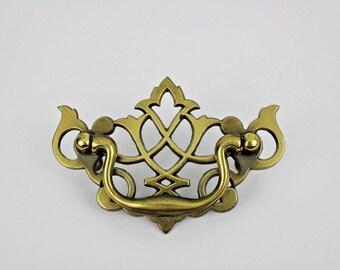 Vintage Chippendale Brass Bat Wing Dresser Drawer Pull Furniture Hardware KBC Keeler Brass Company