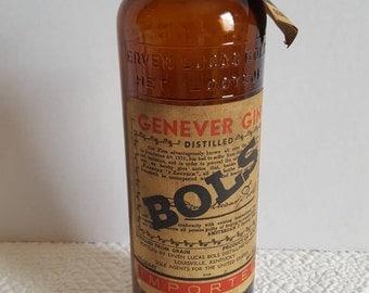 1960's - 70's BOLS Genever Gin Amsterdam Amber Glass Bottle