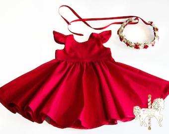 Classic Red Dress | Christmas Dress | Red Dress | Girls Dress | Baby Dress | Toddler Dress | Holiday Dress | Party Dress | Birthday Dress