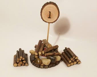 First Birthday Cake Topper camping campfire, Rustic lumberjack Woodland 1st Birthday package, Smash Cake, Photography Prop, Forest party