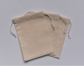 "Plain Cotton Pouches * 5 Cotton Bags * Gift Pouches * Drawstring Muslin Pouches * Goodie Bags * 4"" x 5"" (10cm x 13 cm )"