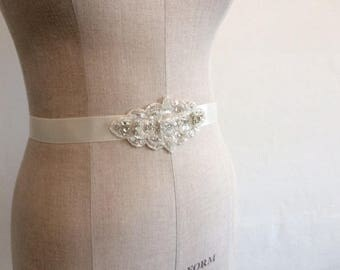 Wedding Belt. Bridal Belt Sash. Crystal and Bead Appliqué on Grosgrain Ivory Ribbon.