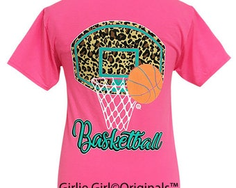 Girlie Girl Originals Leopard Basketball Neon Pink Short Sleeve T-Shirt