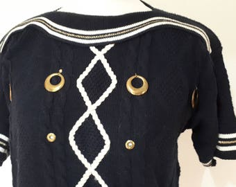 Vintage 80s nautical boat neck sweater jumper top navy blue cotton mix jumper sweater size medium to large