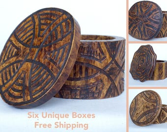 Wooden Box Handmade For Jewelry Geometric Lines Unique Design Vintage Look