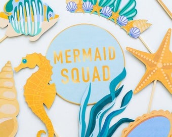 MERMAID THEMED Photo Booth Prop Printable modern Download Under the sea Pirate Ocean Party