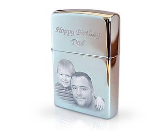 Photo & text engraved Zippo lighter