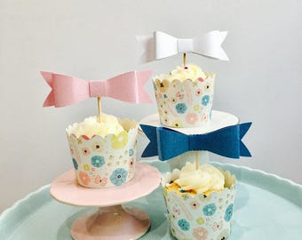 12ct bow cupcake toppers, gift bows, bow toppers, 3d bow cupcake toppers