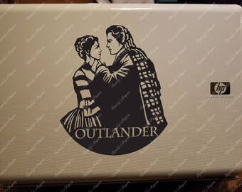 Outlander inspired Jamie and Claire Glossy Vinyl Car Decal or Laptop Decal in black or white
