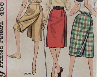 Simplicity 3922 misses bowling skirt or divided skirt waist 26 vintage 1960's sewing pattern