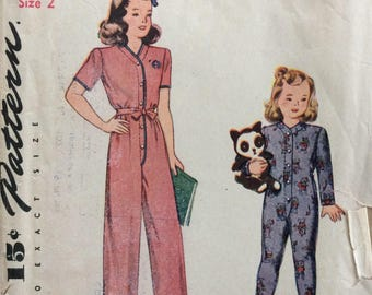 Simplicity 4545 girls pajamas size 2 vintage 1940's sewing pattern