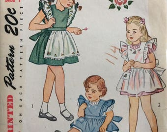 Simplicity 1789 girls pinafore size 1 vintage 1940's sewing pattern