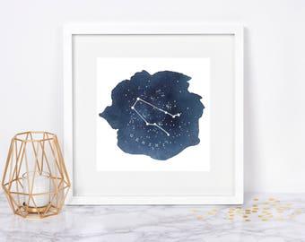 Gemini Constellation Print Gemini Star Sign Zodiac Watercolor Art Print Gemini Art Gemini Gifts Night Sky Print Astrology Art Print Navy
