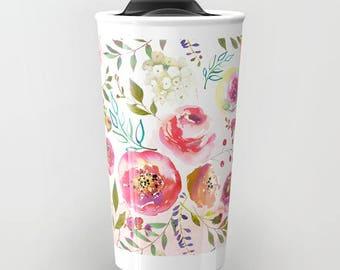 Floral Ceramic Travel Mug Blush Pink Flowers Ombre Travel Mug Watercolor Floral Print Travel Coffee Mugs girls gift Peonies Rose Travel Mug