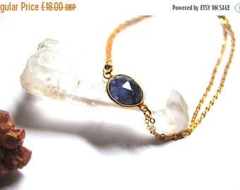 ON SALE Iolite bracelet, 14kt Gold filled chain, double layered chain, 14kt Gold bracelet, gemstone bracelet