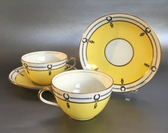 1 of 2 Vintage Aynsley Yellow Art Deco Bone China Tea Cups and Saucers England
