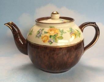 Vintage Arthur Wood English Floral Pottery Teapot Medium Size 5-6 cup