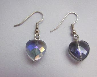 Lavender crystal heart earrings