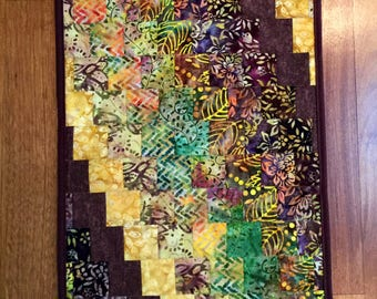 "Table runner quilted batik bargello table runner table topper 16"" x 31""  rich colors!"