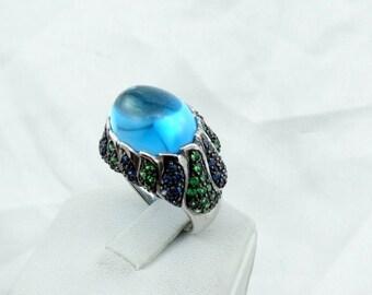 Stunning Andy Götz Designer Blue Topaz Sapphire and Emerald Flame 14K White Gold Ring.  #GOTZ-GR4