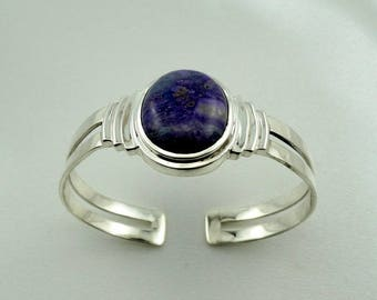 Substantial Vintage Natural Purple Sugilite and Sterling Silver Cuff Bracelet FREE SHIPPING! #PURPLE-CF9