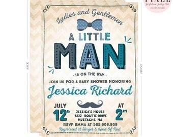Little Man Baby Shower Invitation Mustache Baby Shower Invitation Boy Baby Shower Invitation Mustache Little Man Shower Hipster Shower