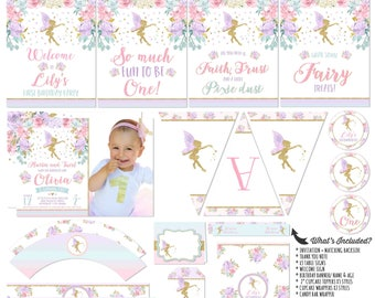 Fairy Party Package & Fairy Birthday Invitation Floral Pink Gold Fairy Printable Party Party Decorations Whimsical Enchanted Fairy Party