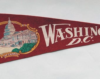 1930s-'40s era Souvenir of The Capitol Washington DC Felt Pennant — Free Shipping!