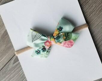 Floral sailor bow, baby headband, nylon headband, sailor bow, floral bow, floral spring bow, mint floral bow, vintage floral bow