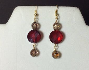 E-C113 - Red crystal and taupe earrings