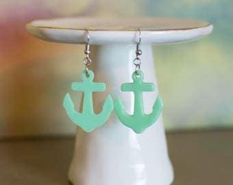 Anchor Earrings, Anchor Jewelry, Green Anchor Earrings, Beach Fashion, Nautical Jewelry
