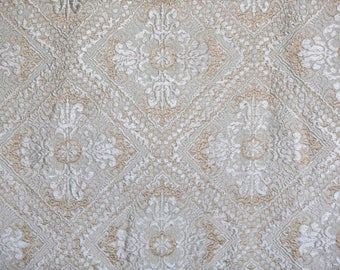 Vintage Italian Sophia Dis. 5 cotton rayon cream and white bedspread classic geometric pattern diamond shape made in Italy Queen or King