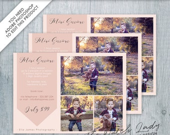 Photography Mini Sessions Card Template - Design #3 - INSTANT DOWNLOAD - Layered .PSD File