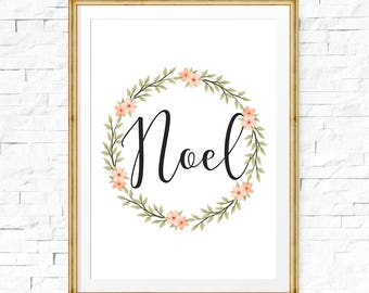 Noel sign, Noel printable wall art, Christmas signs, Holiday sign, Instant download, Holiday decorations, Seasonal party decor, Wreath sign