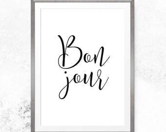 Bonjour sign, Printable art print, Bonjour wall art, Bonjour print, Bonjour printable, French print, French wall art, Digital download