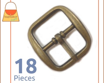 "3/4 Inch Rounded Square Center Bar Pin Buckle, Antique Brass / Bronze Finish, 18 Pack, Handbag Purse Making, .75 Inch, .75"", 3/4"", BKS-AA085"