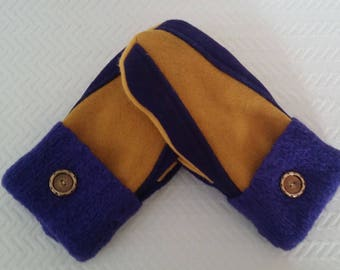 Wool Purple and Gold Recycled Sweater Mittens, Purple and Gold Mittens, Minnesota Mittens - RSM000300