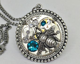 Steampunk bumblebee necklace for her/wife gift/Xmas gift/teal gift for her/sister gift/gift for friend/winter wife gift/christmas jewelry