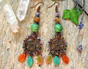 Woodland Pentagram Earrings,Pentagram Jewelry,Pentacle Earrings,Pentacle Jewelry,Woodland Earrings,Woodland Jewelry,Wiccan Earrings,Pagan