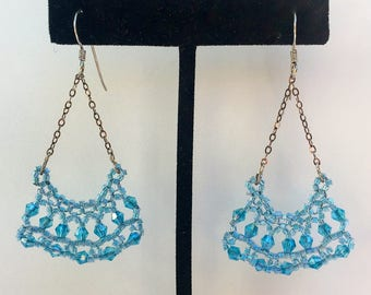 Pale Blue beaded earrings hand crafted with Japanese glass seed beads, Swarovski crystals, and sterling Silver