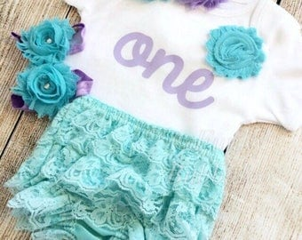 Lilac & Aqua First Birthday Outfit - Bodysuit, Headband, Barefoot Sandals, Bloomers - Photoshoot, Photo Prop Cake Smash, Baby Shower Gift