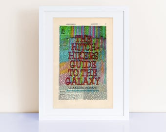 The Hitchhiker's Guide to the Galaxy by Douglas Adams Print on an antique page, Don't Panic