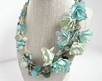 "Multicolored Natural Beads Necklace ""Mint meadow"". Multi-layer necklace with  Flowers from EVA foam(very thin)"