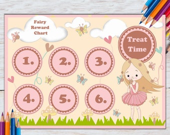PRINTABLE Reward Chart | Fairy | Girls | Potty Training | Toilet Training | Good Girl | Homework | Sleep Chart | A4 | Behaviour Chart
