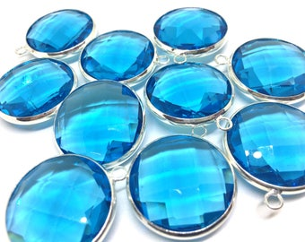 XL 26mm Glass blue pendant Crystal, sterling silver clear faceted crystals jewelry making, necklace making, glass beads, crystal bridesmaid
