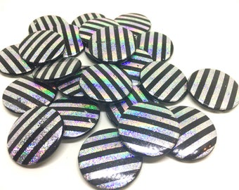 32mm silver flat round Beads, hologram beads, silver and black circular beads, silver necklace, silver bracelet, silver bangle, black silver