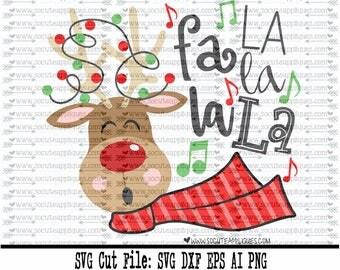 Christmas SVG cut file, Rudolph fa la la reindeer svg, socuteappliques, reindeer svg, santa svg, nice list svg, naughty list svg, bff svg