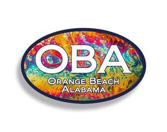 Orange Beach OBA LAVA Sticker Custom Printed Oval Decal Cup Cooler Car Truck Laptop Graphic Ocean Alabama AL